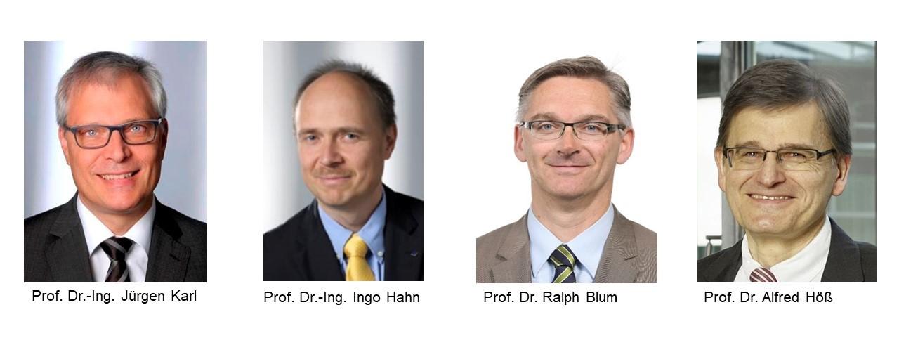 Porträtfotos des 4-köpfigen Direktoriums. Von links Professor Doktor Jürger Karl, Professor Doktor Ingo Hahn, Professor Doktor Ralph Blum, Professor Doktor Alfred Höß